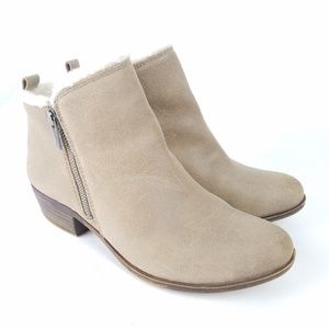 LUCKY BRAND Booties Ankle Boots Leather Sherpa EUC